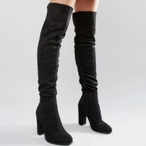 Zara Thigh High Black Faux Suede Boots